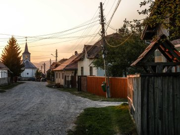 The night sets in over lovely villages (Romania)