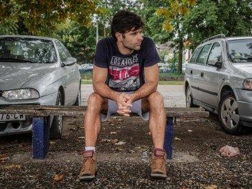 Cyclist Milos between two cars (Smederevo - Serbia)