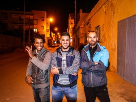 Ibrahim (left) and friends in Gabes